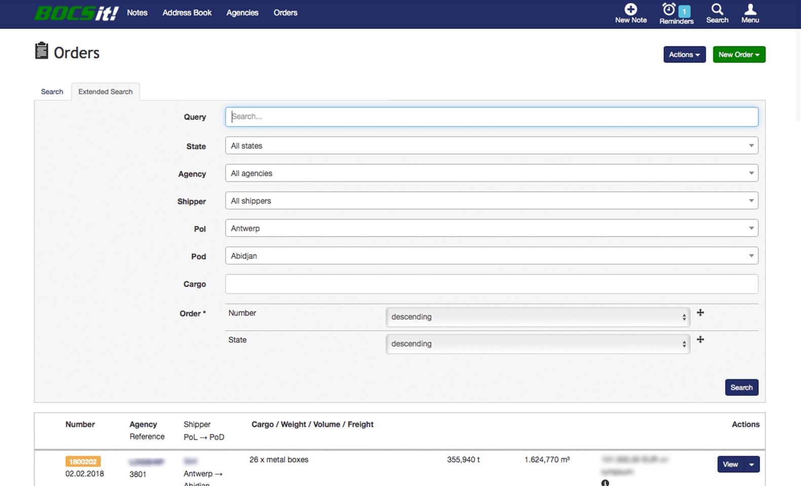 BOCS - CRM - Erweiterte Suche von Angeboten