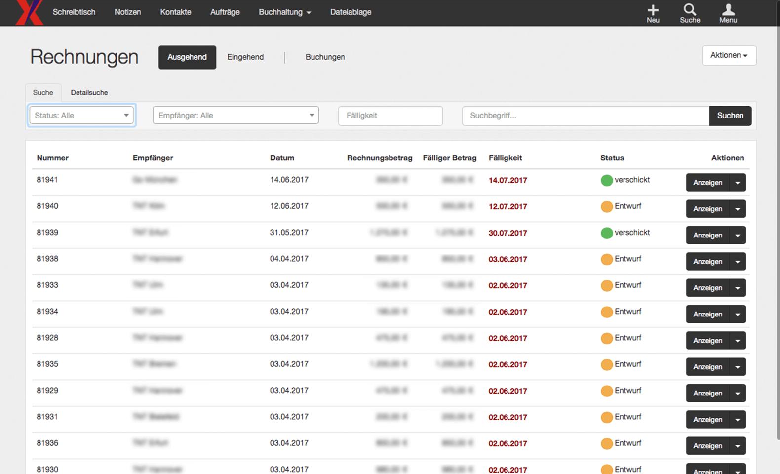 Xpress24 - Auftragsverwaltung - Liste aller Rechnungen