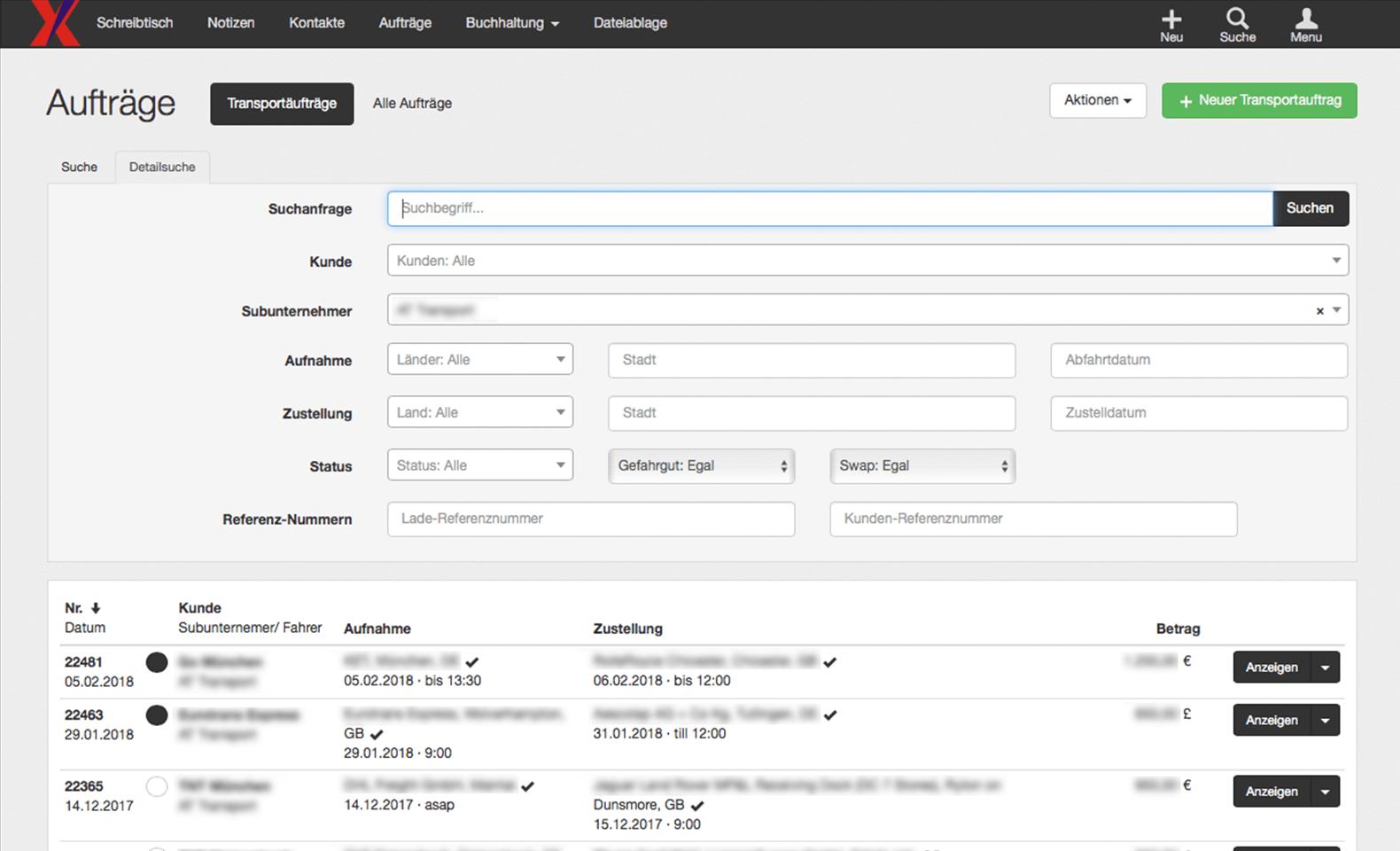 Xpress24 - Auftragsverwaltung - Erweiterte Suche nach Aufträgen
